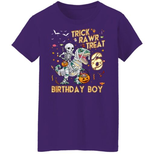 Trick Rawr Treat Skeleton Dinosaur Halloween 6th Birthday T-Shirt 17 of Sapelle