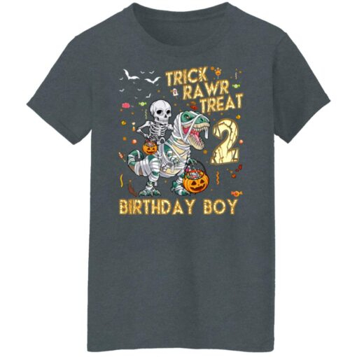 Trick Rawr Treat Skeleton Dinosaur Halloween 2nd Birthday T-Shirt 14 of Sapelle