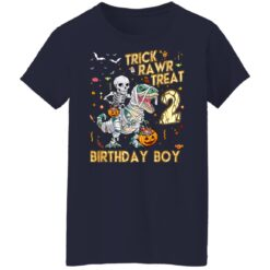 Trick Rawr Treat Skeleton Dinosaur Halloween 2nd Birthday T-Shirt 47 of Sapelle