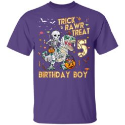 Trick Rawr Treat Skeleton Dinosaur Halloween 5th Birthday T-Shirt 37 of Sapelle