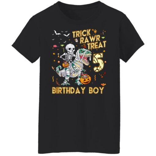 Trick Rawr Treat Skeleton Dinosaur Halloween 5th Birthday T-Shirt 13 of Sapelle