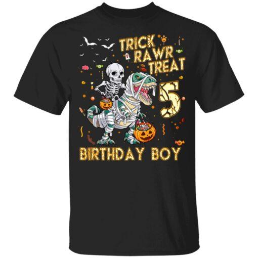 Trick Rawr Treat Skeleton Dinosaur Halloween 5th Birthday T-Shirt 7 of Sapelle