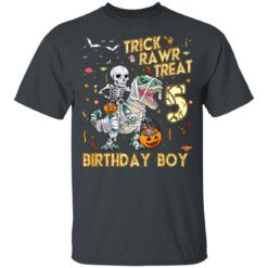 Trick Rawr Treat Skeleton Dinosaur Halloween 5th Birthday T-Shirt 31 of Sapelle