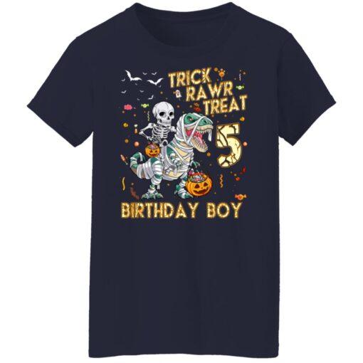 Trick Rawr Treat Skeleton Dinosaur Halloween 5th Birthday T-Shirt 16 of Sapelle