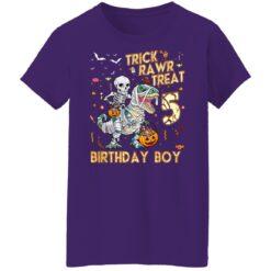 Trick Rawr Treat Skeleton Dinosaur Halloween 5th Birthday T-Shirt 49 of Sapelle