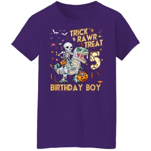 Trick Rawr Treat Skeleton Dinosaur Halloween 5th Birthday T-Shirt 17 of Sapelle