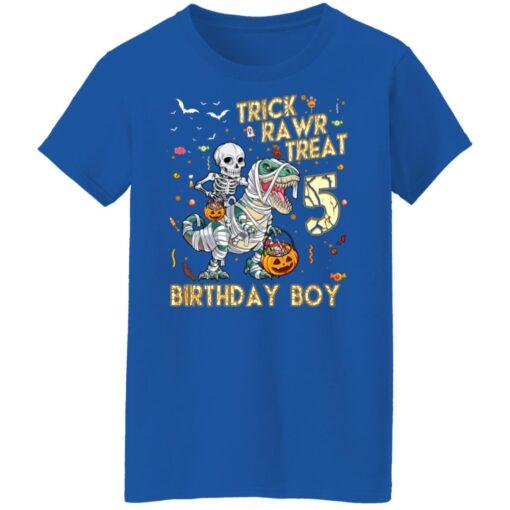 Trick Rawr Treat Skeleton Dinosaur Halloween 5th Birthday T-Shirt 18 of Sapelle