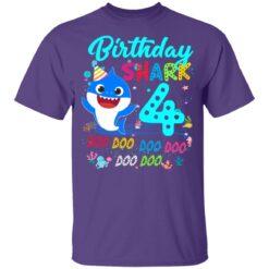 Baby Shark 4th Birthday Shirt Boys Girls 4 Year Old Birthday T-Shirt 37 of Sapelle