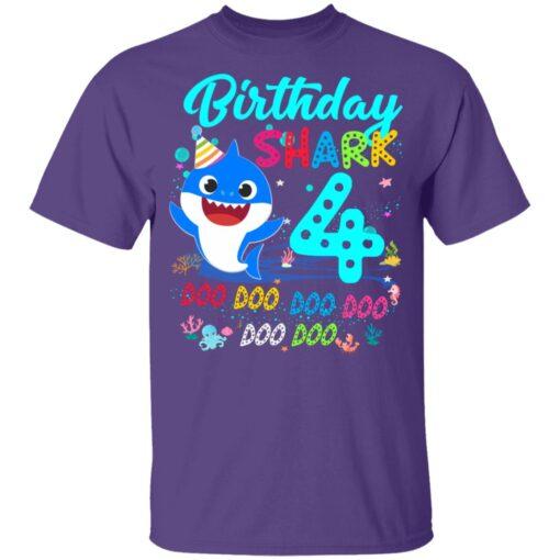 Baby Shark 4th Birthday Shirt Boys Girls 4 Year Old Birthday T-Shirt 11 of Sapelle