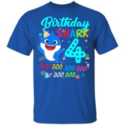 Baby Shark 4th Birthday Shirt Boys Girls 4 Year Old Birthday T-Shirt 39 of Sapelle
