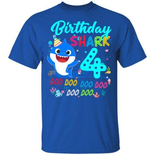 Baby Shark 4th Birthday Shirt Boys Girls 4 Year Old Birthday T-Shirt 12 of Sapelle