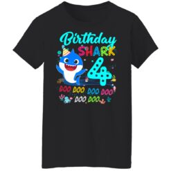 Baby Shark 4th Birthday Shirt Boys Girls 4 Year Old Birthday T-Shirt 41 of Sapelle