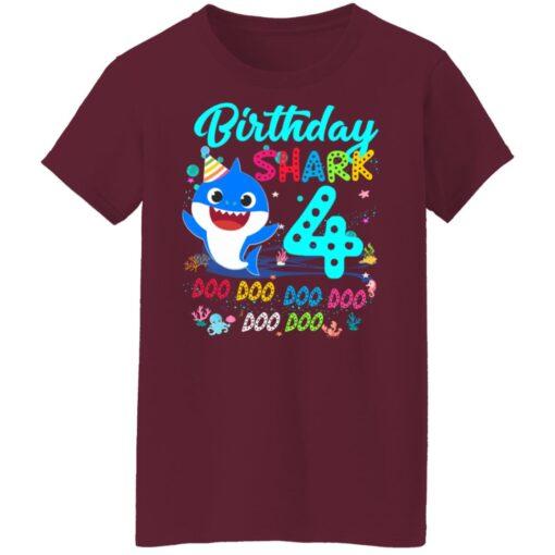Baby Shark 4th Birthday Shirt Boys Girls 4 Year Old Birthday T-Shirt 15 of Sapelle