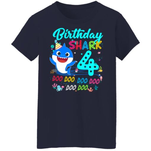 Baby Shark 4th Birthday Shirt Boys Girls 4 Year Old Birthday T-Shirt 16 of Sapelle