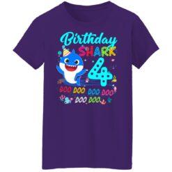 Baby Shark 4th Birthday Shirt Boys Girls 4 Year Old Birthday T-Shirt 49 of Sapelle