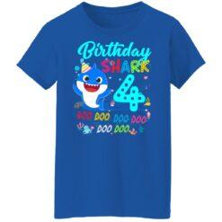 Baby Shark 4th Birthday Shirt Boys Girls 4 Year Old Birthday T-Shirt 51 of Sapelle