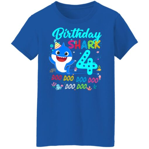 Baby Shark 4th Birthday Shirt Boys Girls 4 Year Old Birthday T-Shirt 18 of Sapelle