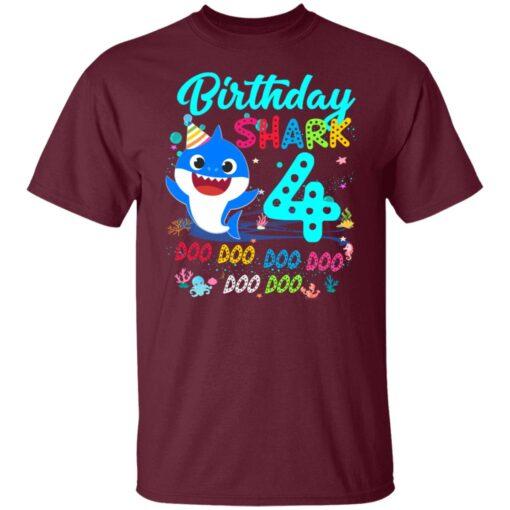 Baby Shark 4th Birthday Shirt Boys Girls 4 Year Old Birthday T-Shirt 3 of Sapelle