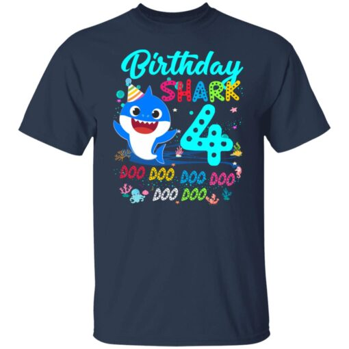 Baby Shark 4th Birthday Shirt Boys Girls 4 Year Old Birthday T-Shirt 4 of Sapelle
