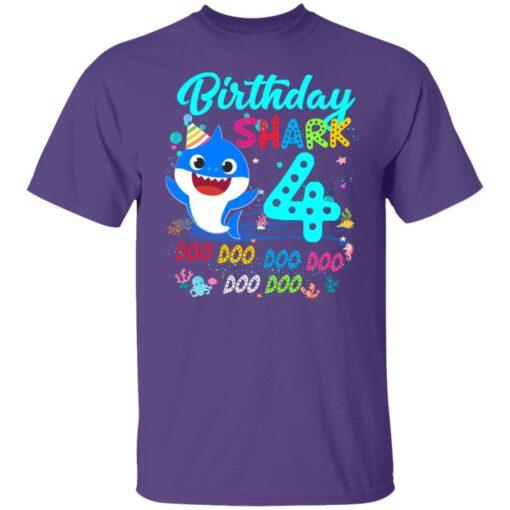 Baby Shark 4th Birthday Shirt Boys Girls 4 Year Old Birthday T-Shirt 5 of Sapelle