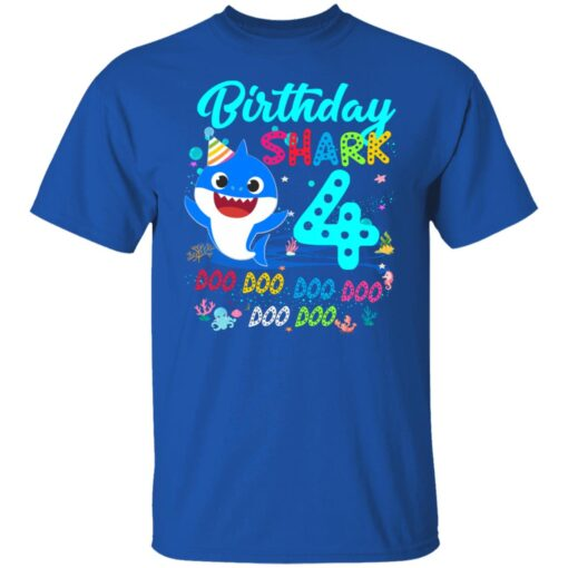 Baby Shark 4th Birthday Shirt Boys Girls 4 Year Old Birthday T-Shirt 6 of Sapelle