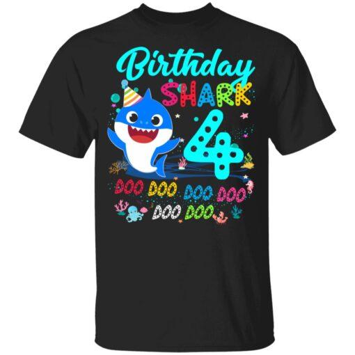 Baby Shark 4th Birthday Shirt Boys Girls 4 Year Old Birthday T-Shirt 7 of Sapelle