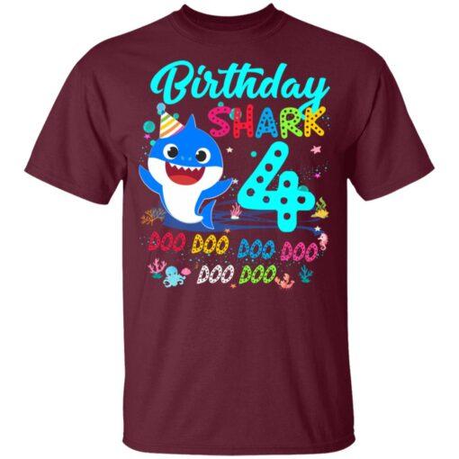 Baby Shark 4th Birthday Shirt Boys Girls 4 Year Old Birthday T-Shirt 9 of Sapelle