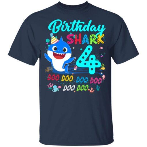 Baby Shark 4th Birthday Shirt Boys Girls 4 Year Old Birthday T-Shirt 10 of Sapelle