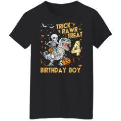 Trick Rawr Treat Skeleton Dinosaur Halloween 4th Birthday T-Shirt 41 of Sapelle