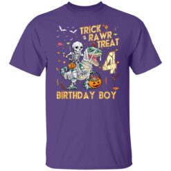 Trick Rawr Treat Skeleton Dinosaur Halloween 4th Birthday T-Shirt 25 of Sapelle