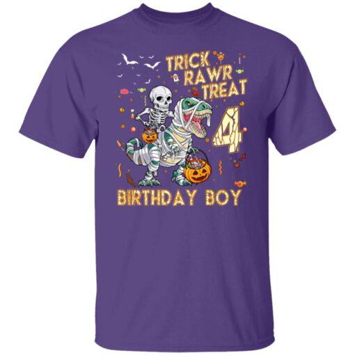 Trick Rawr Treat Skeleton Dinosaur Halloween 4th Birthday T-Shirt 5 of Sapelle