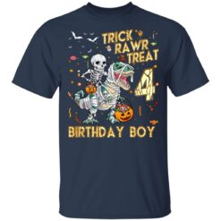 Trick Rawr Treat Skeleton Dinosaur Halloween 4th Birthday T-Shirt 35 of Sapelle
