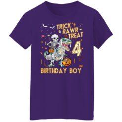 Trick Rawr Treat Skeleton Dinosaur Halloween 4th Birthday T-Shirt 49 of Sapelle