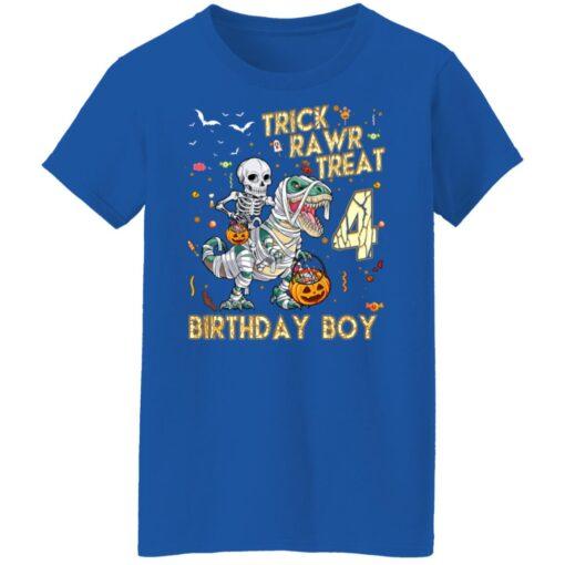 Trick Rawr Treat Skeleton Dinosaur Halloween 4th Birthday T-Shirt 18 of Sapelle