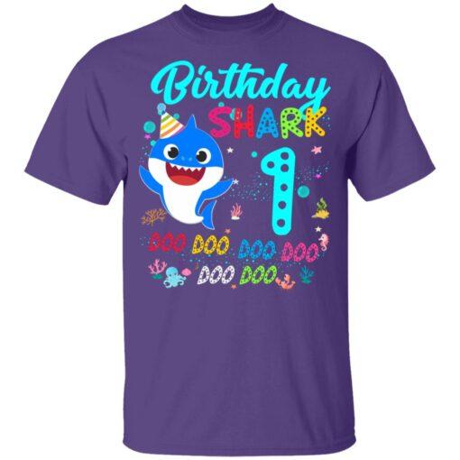 Baby Shark 1st Birthday Shirt Girl Boy 1 Year Old Birthday T-Shirt 11 of Sapelle