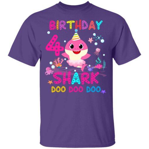 Baby Shark 4th Birthday Shirt 4 Year Old Birthday Girl Gifts T-Shirt 11 of Sapelle