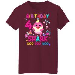 Baby Shark 4th Birthday Shirt 4 Year Old Birthday Girl Gifts T-Shirt 45 of Sapelle