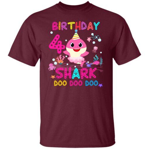 Baby Shark 4th Birthday Shirt 4 Year Old Birthday Girl Gifts T-Shirt 3 of Sapelle