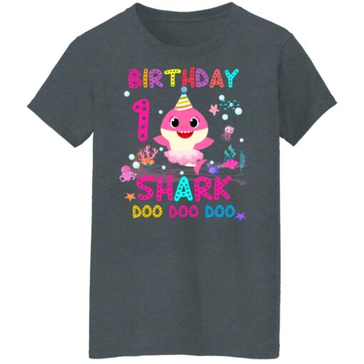 Baby Shark 1st Birthday Shirt 1 Year Old Birthday Girl Gifts T-Shirt 14 of Sapelle